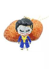 Betsey Johnson Blue Crystal Enamel Cute Joker Pendant Necklace Sweater Chain