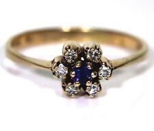 Pretty 0.10ct Diamond & Sapphire 9ct Light Rose Gold Cluster ring N ~ 6 3/4