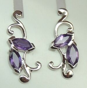 Florale edle 1,3 Carat Amethyst Ohrstecker 925 Silber Ohrstecker Ohrring