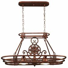 Lighted Hanging Pot Rack Oil Rubbed Bronze 2-Lights Kitchen Ceiling Pan Storage