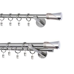 Gardinenstange Vorhangstange  1und 2 läufig 19mm Metall  EDELSTAHL modern Vega