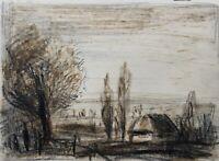 Norddeutsche Landschaft Mit Bäumen und Haus Kohle Aquarell Mischtechnik 35,5x48