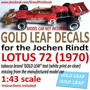 F1 Car Collection Jochen Rindt Lotus 72 GOLD LEAF 1970 water slide DECALS 1:43