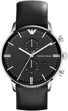 Emporio Armani AR0397 Black Leather Chrono Mens Watch Nuevo