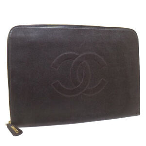 CHANEL CC Logos Briefcase Business Document Case 4282633 Brown Caviar Skin 36835