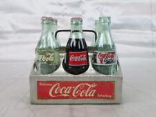 Vintage Coca Cola Aluminum Six Pack Carrier With Vintage Bottles - GUC