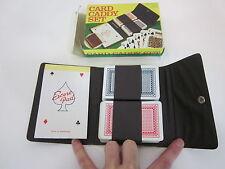 Vintage Card Caddy Set Playing Decks Leather Case casino poker Bakelite FCU