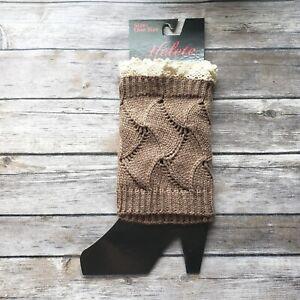 Khaki Leg Warmers Toppers  Short Crochet Lace Boot Cuffs