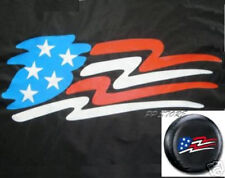 "SPARE TIRE COVER 26.5""-28.5"" w/ American Flag image on black zf19632p"