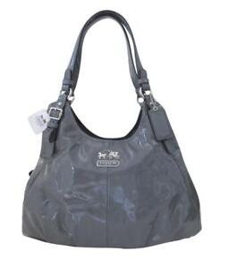 New RARE NWT Coach Maggie Dark Gray Patent Leather Shoulder Purse Hobo Bag 17747