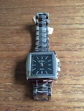 Ladies/Gents New SS Quartz Black Faced Watches  W184c