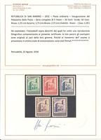 1932 SAN MARINO PALAZZETTO DELLA POSTA  5 VALORI NUOVI N°159-163 CERT.  BIFANI