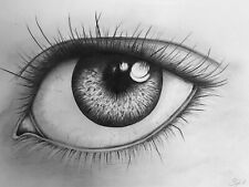 More details for female eye original pencil drawing modern art by s tipple a4 landscape
