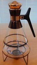 Vintage Mid Century Inland Glass Copper Coffee Carafe Warmer Stand Cork Top WOW
