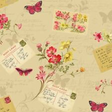 Sophie Conran Cartes Postales Maison Papier Peint Papillons Fleurs Beige Antique