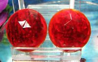 *TWO* ANTIQUE VINTAGE 1920's FACETED GLASS REFLECTORS~ RED~ Hot Rod Motorcycle