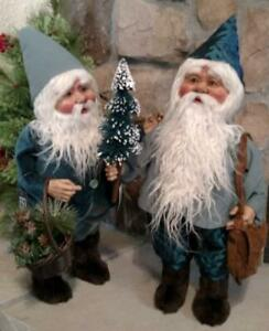 "Set 2 NWT 20"" Santa's Elves ELF Christmas Display Prop Figure Doll BLUE Clothes"