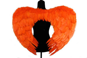 """Real Goose Feather Orange Angel Wings Costume Accessory Adult 25"""" x 31"""""""