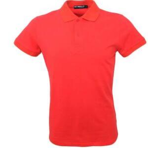 POLO basic uomo in cotone elastico rosso slim fit collo rigido con cucitura in t