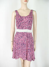 Aqua Mary Anne Crochet Inset Dress Pink Floral M 9440 BM12