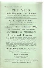 The Yeld , Little Haywood , Stafford . Sale Catalogue Of Antique Furniture