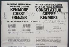 1979 Simpson Sears Kenmore Chest Freezer Owners Manual/Parts List Eng/Fr 19 Mod