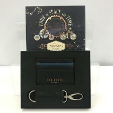 New Ted Baker Voyager's Card Holder + Keyring Navy Boxed Gift Set Travel 301304