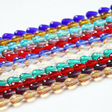 Lot 20Pcs Faceted Teardrop Czech Glass Crystal Spacer Beads Jewelry Accessory