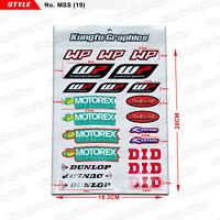 WP MOTOREX Sponsor Stickers Vinyl Decals Sheet Graphics Car Motorbike Front Fork