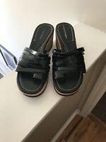 Donald J Pliner Women's Flore Black Patent Leather Wedge Sandals Shoe Size 9.5M