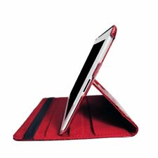Apple iPad 2/3/4 Case 360 Degree Rotating Folio Case-Stand (CROCODILE RED)