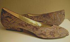 Vtg Bruno Magli sz 5.5 Shoes Low heel Pumps Brown Textured Suede Leather Italy