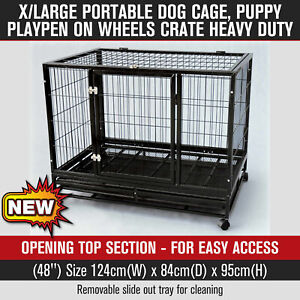 48'' Portable X-Large Dog Cage Heavy Duty Pet Playpen Crate Kennel on Wheels