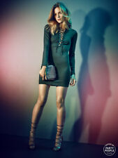 Gina Tricot Black Lace Up Deep V Neck Party Collection Dress * XS * BLOGGER FAV!