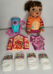 Hasbro Brunette Baby Alive Baby Doll 2016 Talking Crawling Works