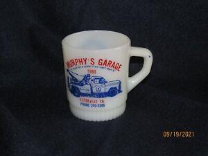 FIRE KING ADVERTISING MILK GLASS 1980 MURPHY'S GARAGE VICTORVILLE CA. TRUCK MUG
