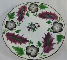 "Antique 9.5"" Staffordshire Plate Polychrome 3 Color Floral & Leaf Pattern"