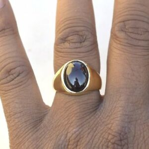 Natural Oval Cab Black Onyx  925 Sterling Silver Yellow Gold Men's Ring Size 8