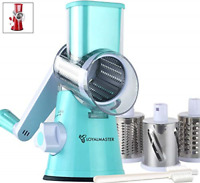 Rotary Cheese Grater Manual Mandoline Slicer Grinder Round Drum Shredder Food