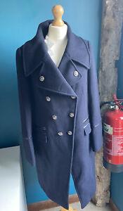 Damsel In A Dress Fairfield Military Navy Coat Size 16 Bnwt