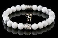 Howlith weiß Armband Bracelet Perlenarmband Buddhakopf silber 8mm