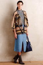 NEW Anthropologie Sheri Bodell Striped Wool Huanako Poncho Camel Yellow Boho$198