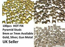 CraftbuddyUs 100 Metal Hotfix Pyramid Studs stick on Embellishmnt Punk Goth Diy