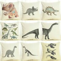 Fashion Cotton Linen Dinosaur Throw Pillow Case Sofa Cushion Cover Home Decor