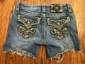 MISS ME Signature Boot Raw Hem Cut Off Denim Shorts Women's Size 27 JP5046821