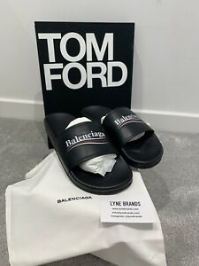 Balenciaga Black Leather Campaign Logo Slides Sandals - U.K. 9 /EU 43 - RRP £400