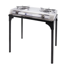 Stainless Steel 2 Burner Stove Stand Silver Camping Out Door Equipment Propane