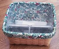Longaberger 2001 Card Keeper Basket Combo Protector, Holiday Liner & Cards