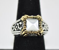 White cat eye stone  High quality Two tone fashion Rhodium Plated ring Size 5 #W
