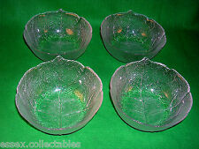 4 ARCOROC Aspen Leaf Sundae Frutta Dessert Ciotole vetro vintage FRANCE 1970s in buonissima condizione